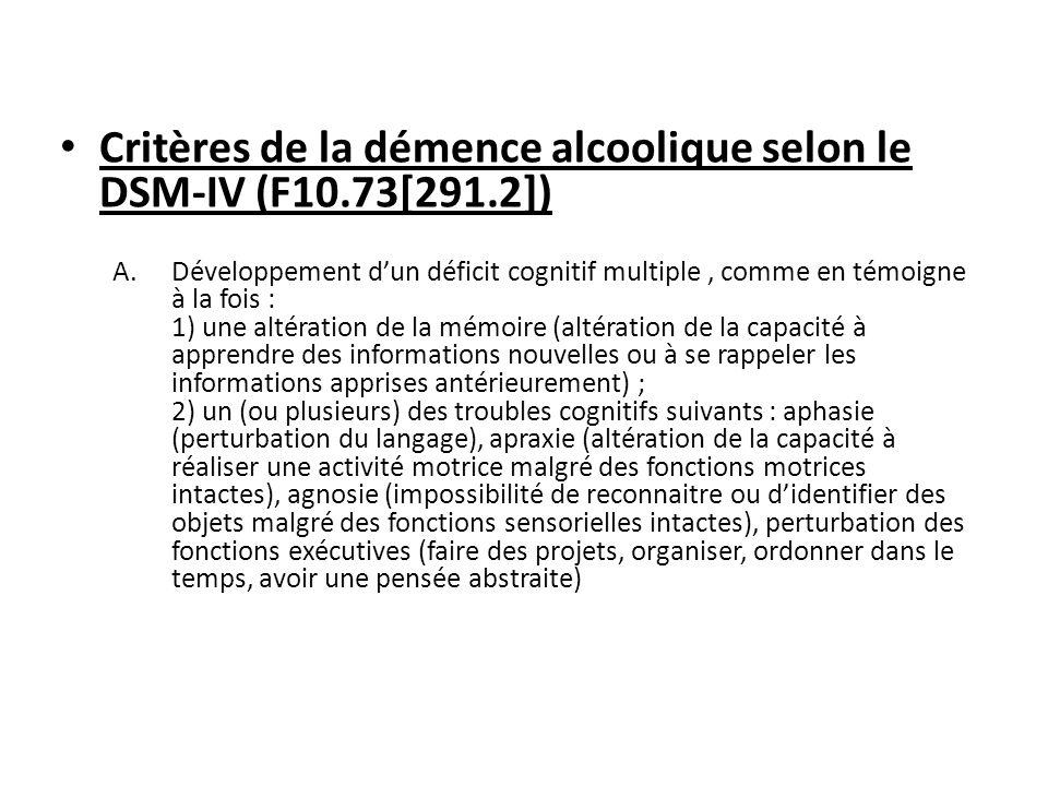 Critères de la démence alcoolique selon le DSM-IV (F10.73[291.2])